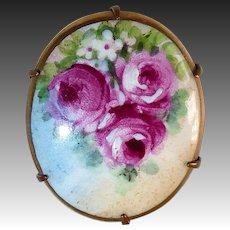 Antique Victorian Pin Hand Painted Roses on Porcelain