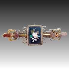 Victorian Rolled Rose & Yellow Gold Pietra Dura Etruscan Revival Pin