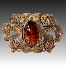 Victorian Bronze Sash Ornament Brooch w Amber Jewel