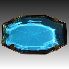 Art Deco Peacock Faceted Blue Glass Jewel Pin
