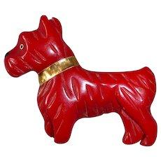 Art Deco Red Carved Bakelite Scottie Dog Pin