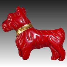 Art Deco Red Carved Bakelite Scottie Dog Pin