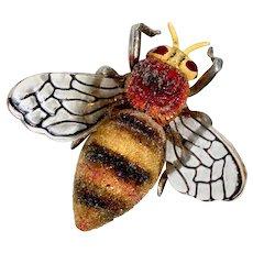 Art Deco Bee Pin Metal Fused Glass & Plastic