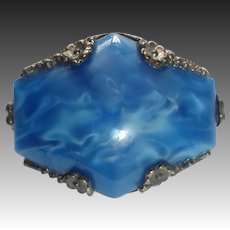 Art Deco Iridescent Pearly Blue Art Glass Cab Pin