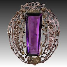 Victorian Bronze Filigree Pin w Faceted Amethyst Glass Jewel