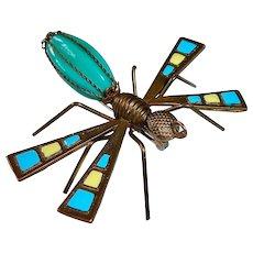 Brass Glass & Enamel Winged Bug Pin
