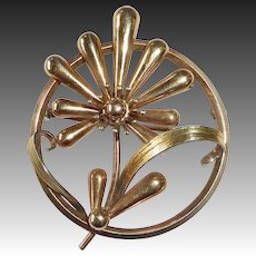 Sculptural Retro Rose & Green Gold Filled Stylized Daisy Pin c1940s