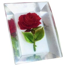 Lucite Reverse Carved Red Rose Pin c1950s
