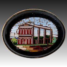 Antique Italian Architectural Mosaic 10k Bezel