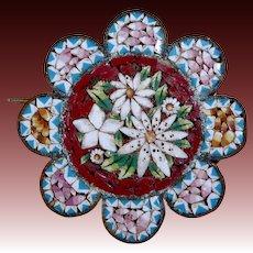 Antique Italian Micro Mosaic Scalloped Pin
