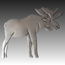 Sterling Silver Moose Silhouette Pin