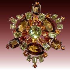 Layered Prong Set Rhinestone Pin in Shades of Amber