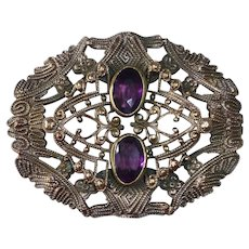 Victorian Embossed Brass Sash Ornament Brooch w Amethyst Glass