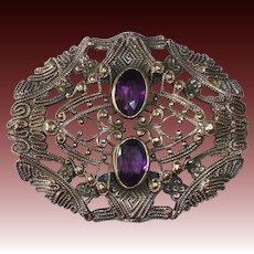 Victorian Embossed Brass Sash Ornament Brooch w Amethyst Glass