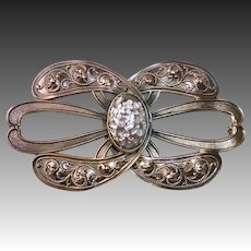 Victorian Bronze Sash Ornament Pin Art Glass Cab