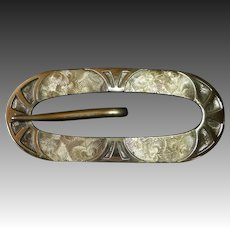 Textured Brass Buckle Design Sash Ornament Brooch
