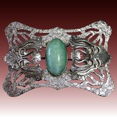 Art Nouveau Sash Ornament Brooch w Green Art Glass Cab