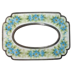 Victorian Guilloche Enamel Forget Me Not Silver Plated Sash Ornament Brooch