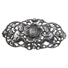 Guglielmo Cini Figural Sterling Pin w Cherubs & Rose