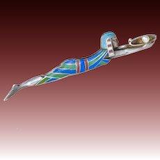 Antique Egyptian Revival Enamel Pin