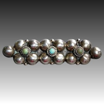 Mexican Sterling Bar Pin w Turquoise Cabs