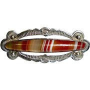 Native American Navajo Sterling Striped Agate Pin