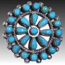 Native American Zuni Sterling & Petit Point Turquoise Cluster Pin