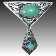 Native American Art Deco Period Sterling & Turquoise Pin