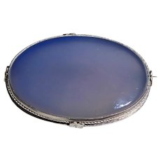 Art Deco Sterling Silver Large Oval Chalcedony Brooch