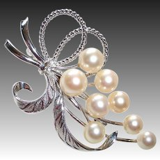 Sterling & Cultured Pearl Spray or Cluster of Grapes Pin