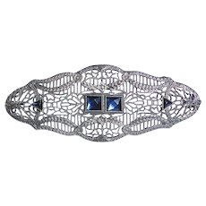 Art Deco Sterling Filigree Pin w Blue Paste