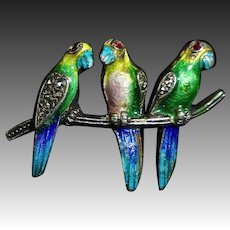 Sterling Enamel & Marcasite Pin Three Birds on a Branch