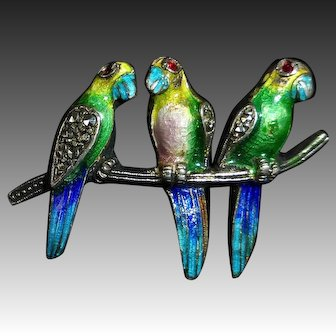 Sterling Enamel & Marcasite Pin Three Birds on a Branch