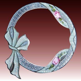 Edwardian Sterling & Enamel Circle Pin w Roses Ribbon & Bow
