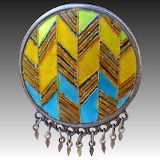 Ethnic Sterling & Geometric Enamel Domed Pin w Fine Fringe