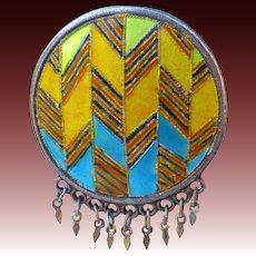 Ethnic Sterling & Geometric Enamel Domed Pin w Fine Fringe