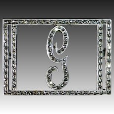 Art Deco Sterling Silver & Marcasite Script G Initial Pin