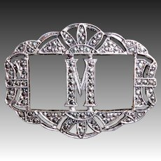 Art Deco Sterling & Marcasite Initial M Pin