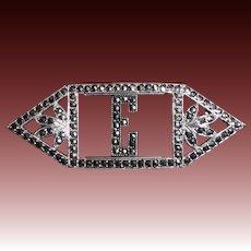 Glittering Art Deco Sterling Silver & Marcasite E Initial Pin