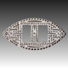 Art Deco Sterling & Marcasite Sparkling Initial M Pin