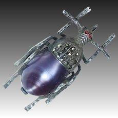 Czech Art Deco Sterling Marcasite & Art Glass Bug/Beetle Pin