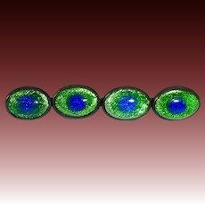 Antique 'Peacock Eye' Art Glass Cabochons Bar Pin