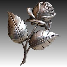 Large Sterling Blooming Rose Pin