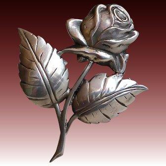 Large Sterling Blooming Rose Pin