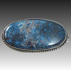 German Sterling Pin w Bead Framed  Sodalite Cabochon