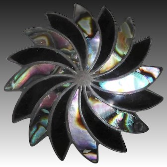 Mexican Sterling Pendant & Pin Combo Abalone Inlay