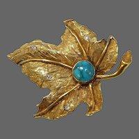 Quality Vintage 18k Yellow Gold Leaf Pin Turquoise & Diamonds