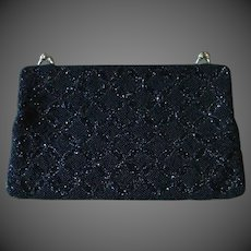 Patterned Black Beaded Clutch Purse c1950s