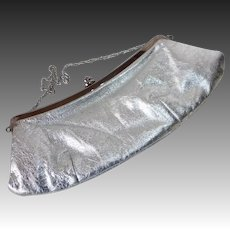 Metallic Silver Leather Purse