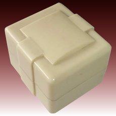 Art Deco Celluloid & Velvet Hinged Presentation Ring Box